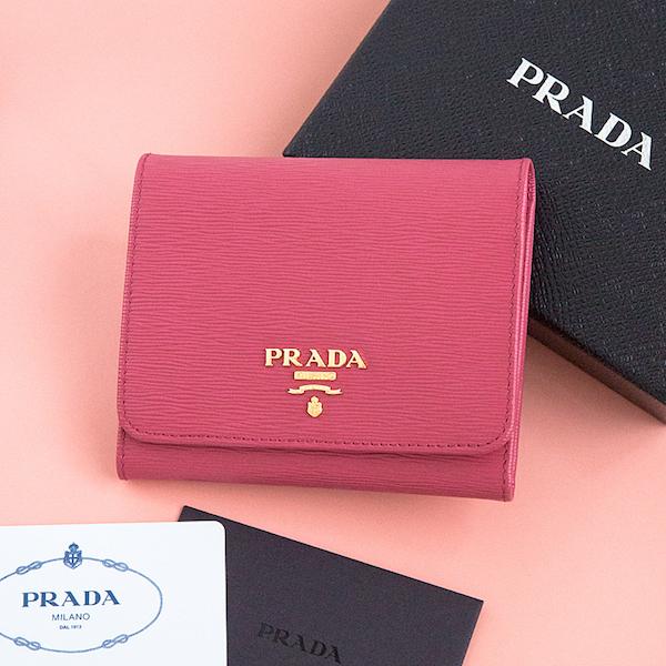 プラダ 財布 三つ折り 折りたたみ ピオニーピンク コンパクト ヴィテッロ・ムーブ
