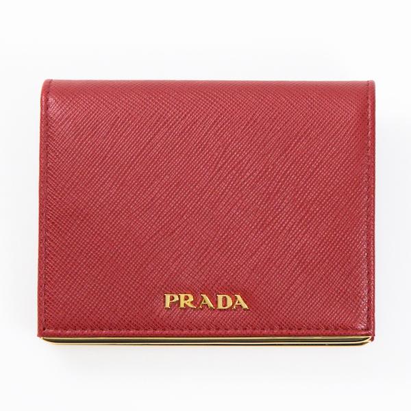 プラダ 財布 レッド 赤 ミニ財布 二つ折り