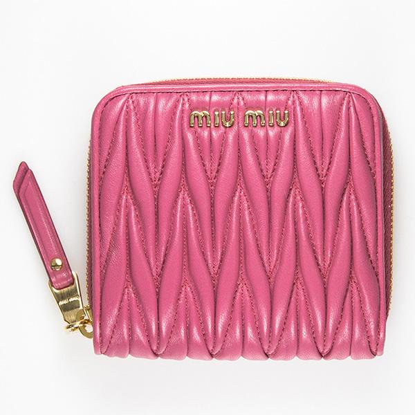 ミュウミュウ 財布 ピンク マトラッセ ミニ財布 使いやすい 可愛い