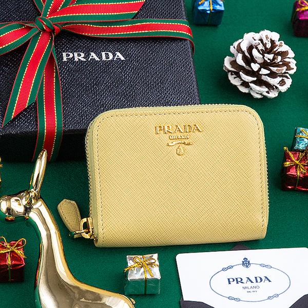 プラダ サフィアーノ コインケース プレゼント イエロー 黄色 ラウンドジップ ファスナー