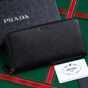 プラダ サフィアーノ 財布 メンズ ラウンドファスナー ブラック 黒 長財布