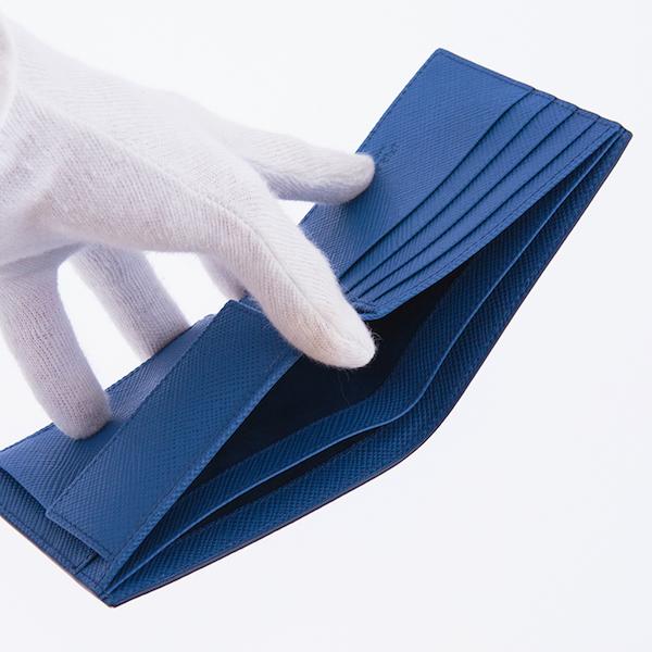プラダ 財布 メンズ サフィアーノ 二つ折り財布 ブルー