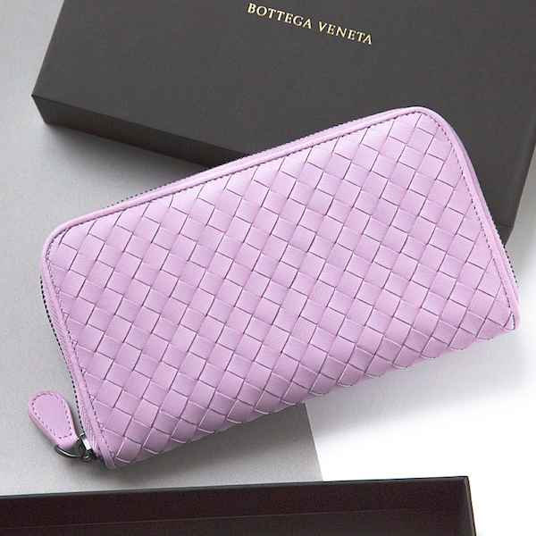 ボッテガヴェネタ 財布 イントレチャート ラウンドファスナー 長財布 薄紫 パープル ピンク