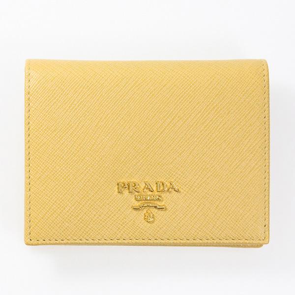 プラダ 財布 黄色 イエロー ミニ財布 二つ折り