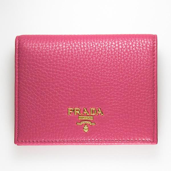 プラダ 二つ折り財布 ミニ コンパクト ヴィテッロ グレイン 上品 可愛い ピオニーピンク