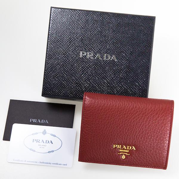 プラダ 財布 赤 ミニ財布 二つ折り ソフトレザー レッド