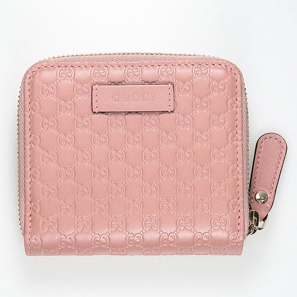 グッチ 財布 折りたたみ 二つ折り ピンク GG 可愛い コンパクト 使いやすい