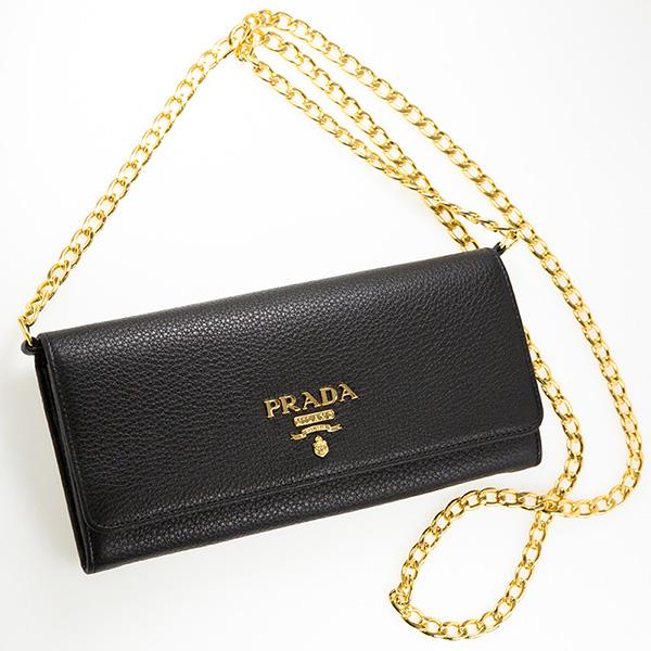 プラダ チェーンウォレット お財布ポシェット ショルダーバッグ ポシェット 財布 ブラック 黒 1MT290