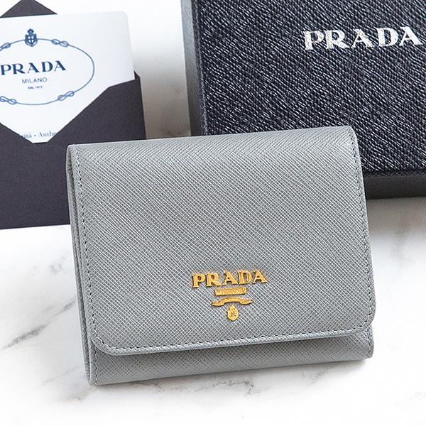 プラダ 財布 サフィアーノ 三つ折り グレー