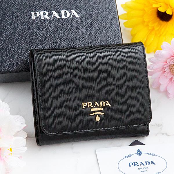 プラダ 財布 三つ折り ブラック 黒