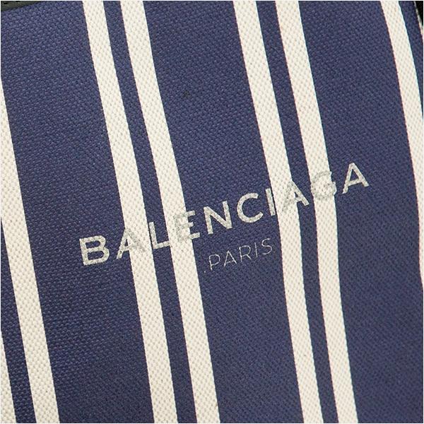 バレンシアガ キャンバストート CABA カバ Sサイズ NAVY ボーダー ブルー ホワイト ポーチ付き