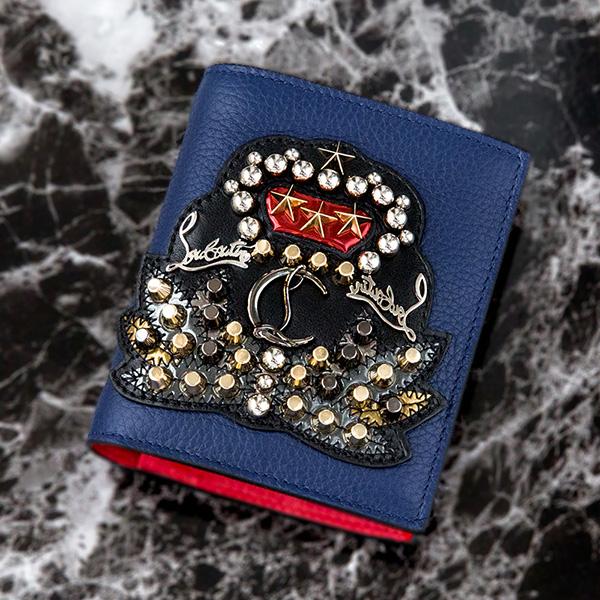 ルブタン 財布 スタッズ ブルー 二つ折り ミニ財布 クリスチャンルブタン