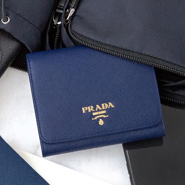 プラダ 財布 サフィアーノ 三つ折り ブルー ネイビー