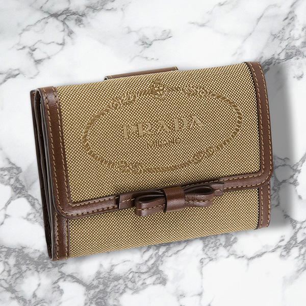 プラダ 財布 二つ折り ロゴ ジャカード ジャガード キャンバス ベージュ ブラウン