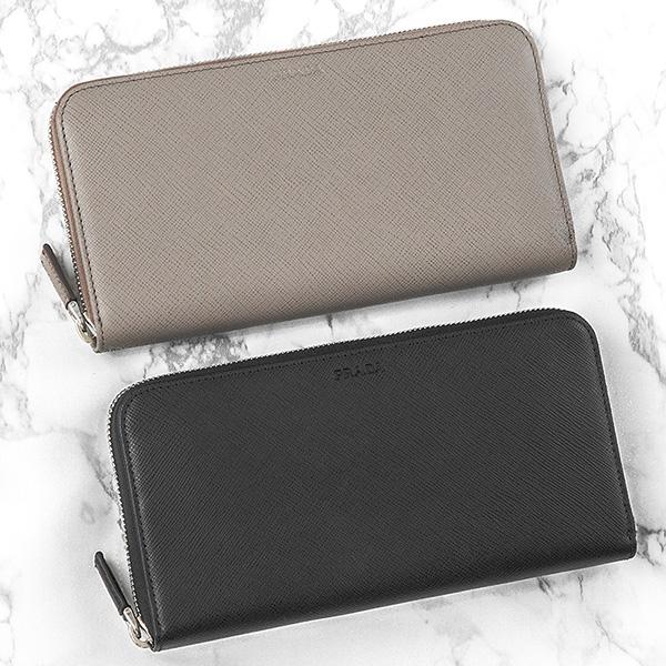 プラダ サフィアーノ 財布 メンズ ラウンドファスナー グレー ブラック 黒