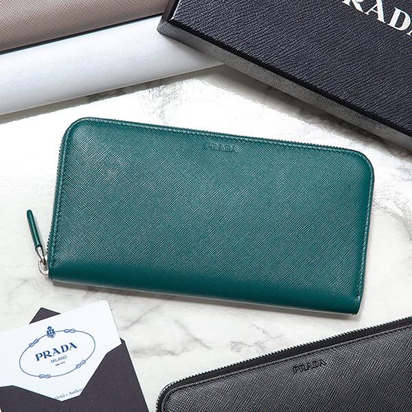 プラダ サフィアーノ 財布 メンズ ラウンドファスナー ティールグリーン