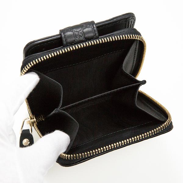 グッチ 財布 折りたたみ 二つ折り ブラック 黒 GG 可愛い コンパクト 使いやすい