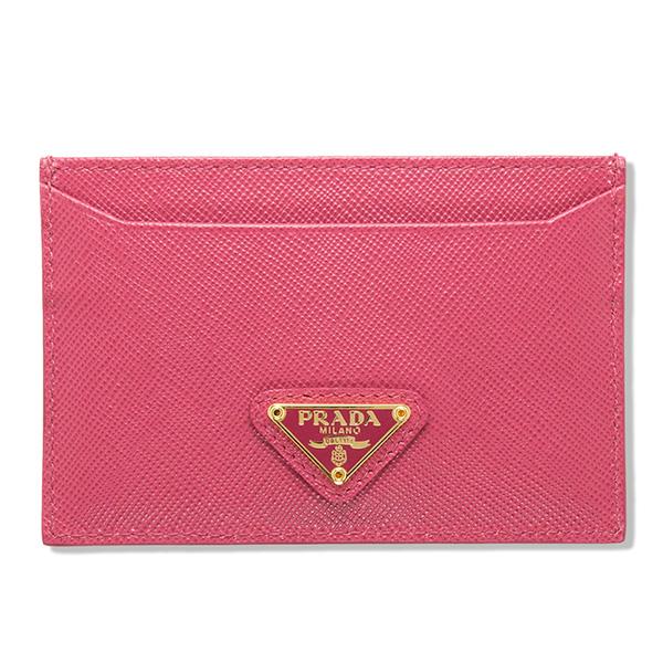 プラダ カードケース サフィアーノ パスケース ピンク 三角ロゴ