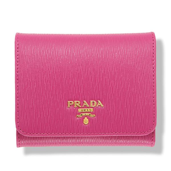 プラダ 財布 三つ折り ピンク フューシャ ネオンカラー
