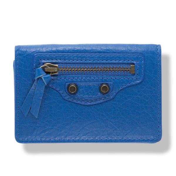 バレンシアガ 財布 ブルー 青 三つ折り ミニ財布 クラシック
