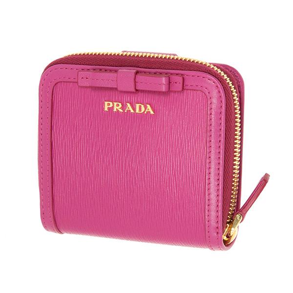 プラダ 財布 リボン ピンク 二つ折り