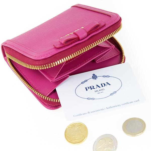プラダ 財布 リボン ピンク 二つ折り コインケース 小銭入れ