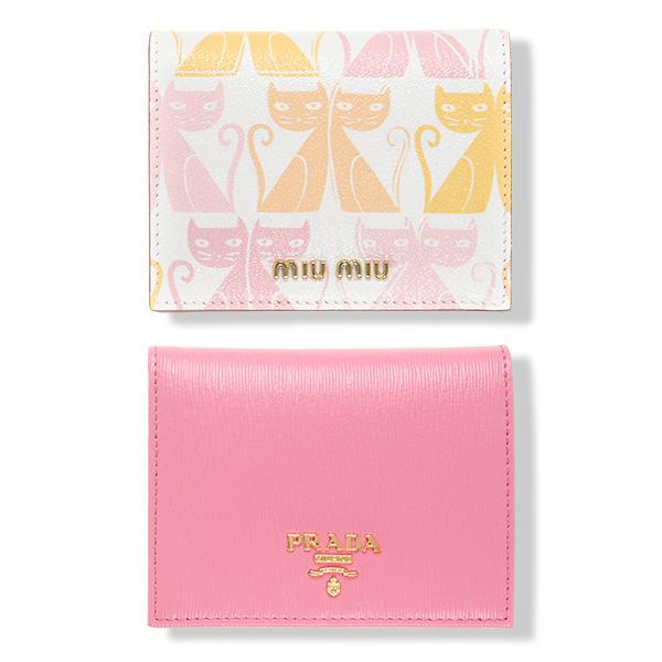プラダ ミュウミュウ 二つ折り財布 ミニ コンパクト 上品 可愛い ピンク ネコ柄 白