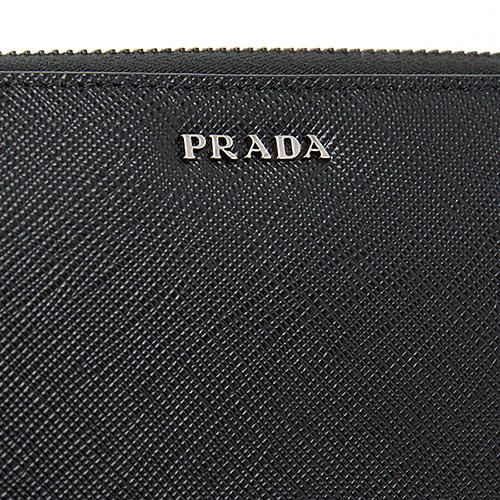 プラダ サフィアーノ 財布 メンズ ラウンドファスナー ブラック 黒 長財布 ツートン バイカラー
