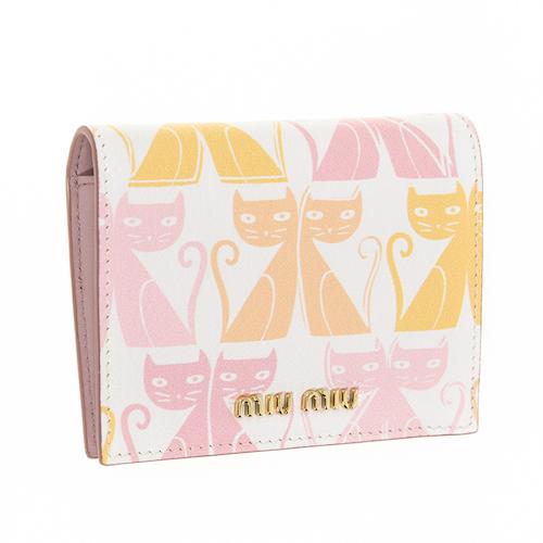ミュウミュウ 財布 二つ折り ミニ財布 ネコ柄 白 可愛い
