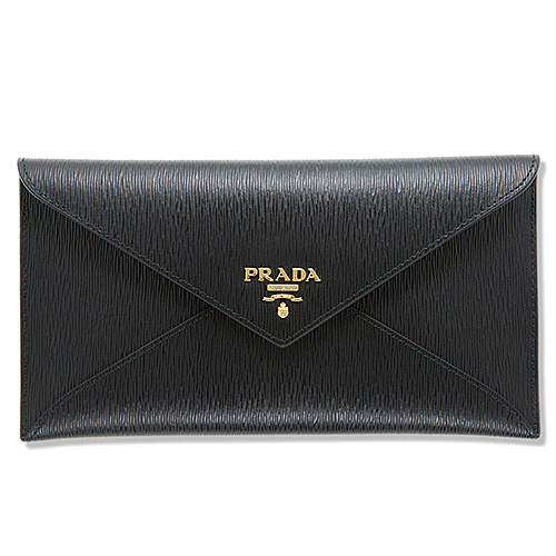 プラダ ドキュメントケース お札入れ 長財布 エンベロップ 封筒型 ブラック