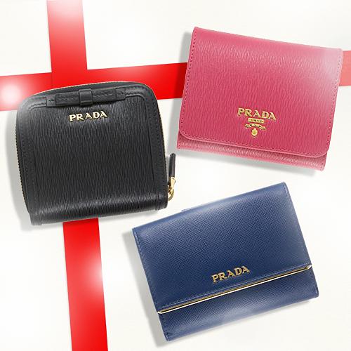 プラダ 財布 クリスマスプレゼント三つ折り 二つ折り ピンク ブラック ブルー 黒