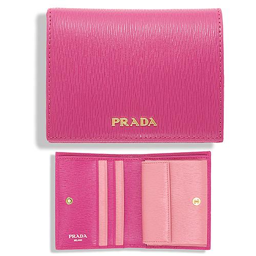 プラダ 二つ折り財布 ミニ コンパクト 上品 可愛い フューシャ ピンク