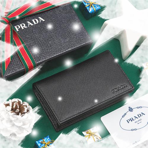 クリスマスプレゼント プラダ カードケース 名刺入れ メンズ ブラック 黒