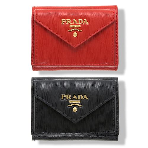 プラダ ミニ財布 三つ折り レッド 赤 ブラック 黒