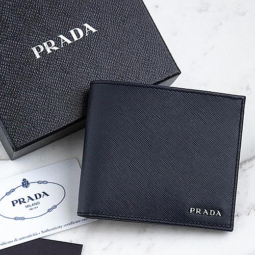 プラダ 財布 サフィアーノ 二つ折り バイカラー メンズ ネイビー ブラック