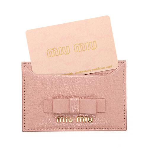 ミュウミュウ カードケース ピンク カードケース リボン パスケース マドラス